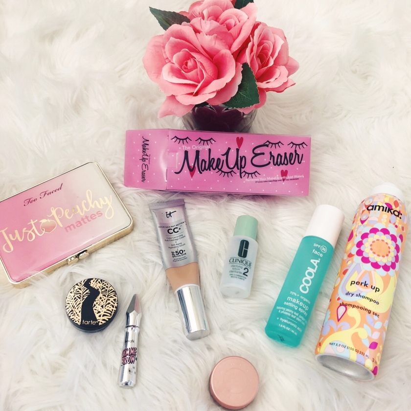 Ten beauty products that I use everyday, including too faced, makeup eraser, amika, coola, clinique, becca, it cosmetics, benefit, and tarte.