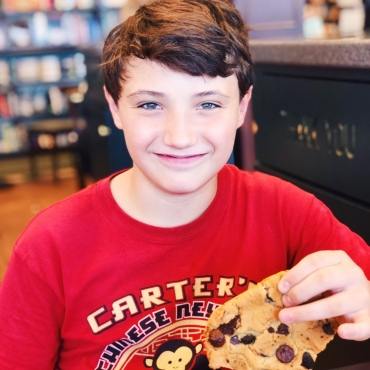 Conner at Barnes and Noble with his free birthday cookie